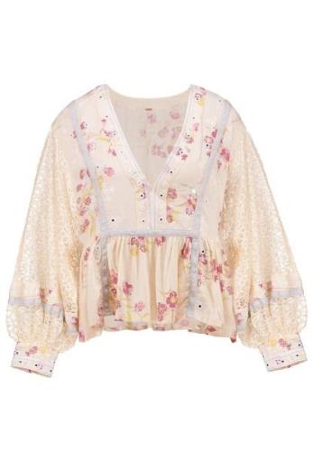 Free People BOOGIE ALL NIGHT PRINTED BLOUSE Bluser ivory