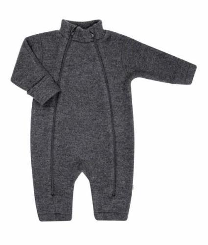 Soft wool køredragt m. lynlås fra Joha - Koksgrå
