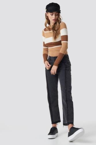 MANGO Straight Cropped Jeans - Grey