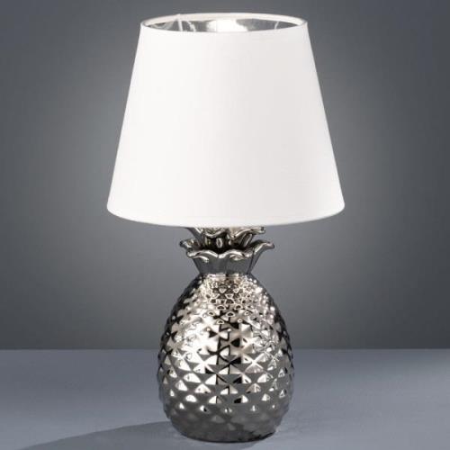 Dekorativ keramisk bordlampe Pineapple, sølv