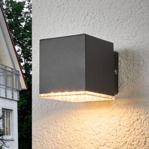 Mørkegrå LED-udendørsvæglampe Lydia