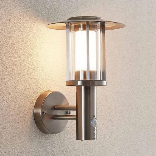 Udendørs LED-væglampe Gregory, stål, sensor