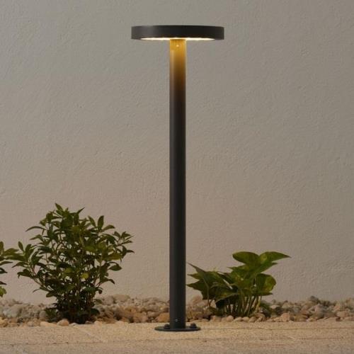 LED-vejlampe Linja m. solceller, rund, mørkegrå