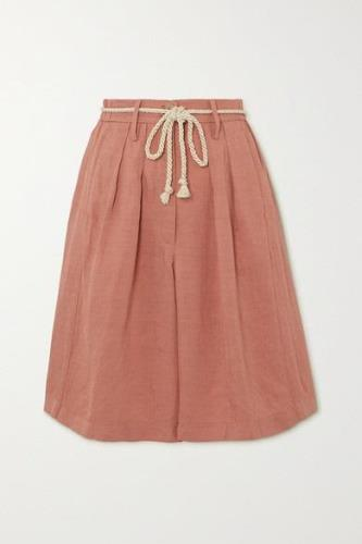 forte forte - Belted Pleated Canvas Shorts - Blush