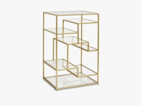 Display with glass shelves, metal, gold
